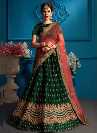 Remarkable Dark Green Color Satin Base Lehenga Choli