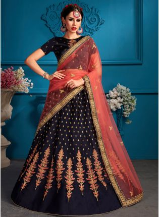 Charming Navy Blue Satin Base Embroidred Lehenga Choli