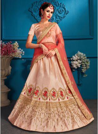 Elegant Peach Color Satin Embroidered Lehenga Choli