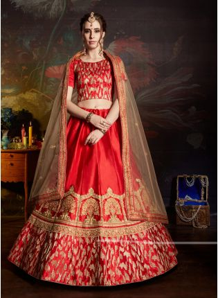 Red Color Satin Base Embroidered Designer Lehenga Choli