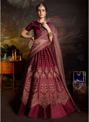 Designer Barn Red Satin Base Embroidered Lehenga Choli