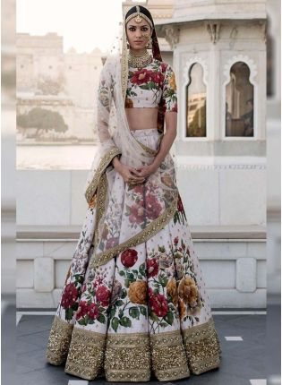Cream Printed Pearl Work Heavily Drape Lehenga Choli Set