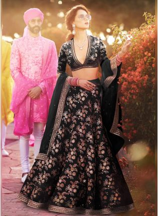 Designer Silk Base black Color Embroidery Work Lehenga Choli