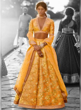 Designer Silk Base Mustered Yellow Color Embroidery Work Lehenga Choli