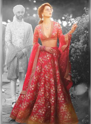 Designer Silk Base Red Color Embroidery Work Lehenga Choli