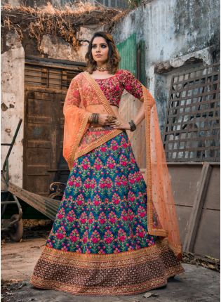 Stylish Royal Blue Color Designer Heavy Embroidered Lehenga Choli