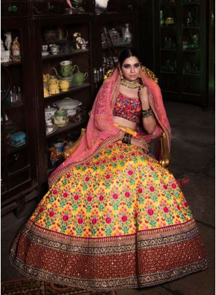 Stylish Yellow Color Designer Heavy Embroidered Lehenga Choli