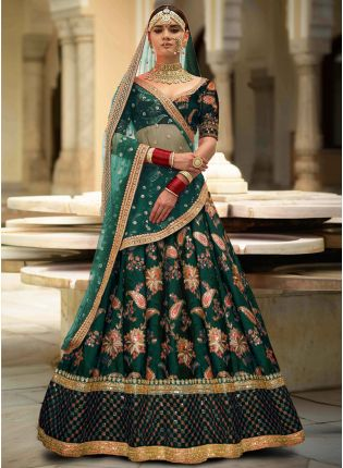 Green Colour Designer Heavy Embroidered Lehenga Choli