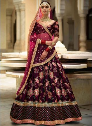 Purple Colour Designer Heavy Embroidered Lehenga Choli