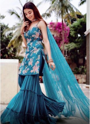 Beautiful Peacock Blue Color Silk base With Heavy Work Sharara Suit
