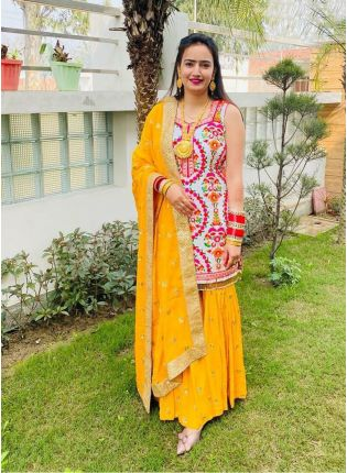 Fancy Look Georgette Base Multi-color Suit With Yellow Color Palazzo Set