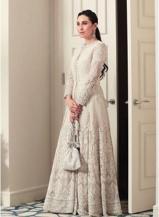 Elegant White Resham Georgette Designer Gown for Weddings