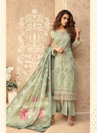 Glowing Green Soft Net Straight Anarkali Suit