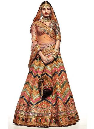 Multi Color Digital Print Tafetta Silk Flared Bollywood Wedding Lehenga Choli