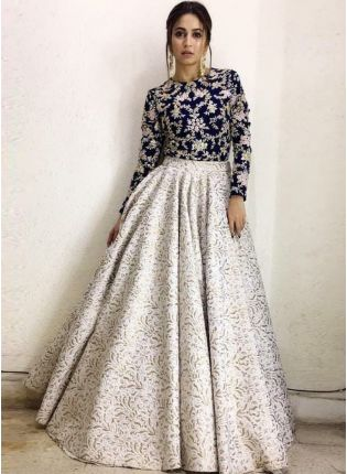 White Digital Print Art Silk Flared Bollywood Lehenga Choli For Reception