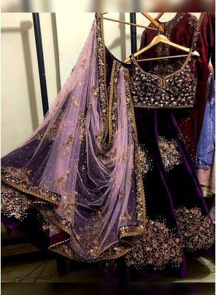 Purple Sequin Zari And Velvet Sangeet Panelled Lehenga Choli