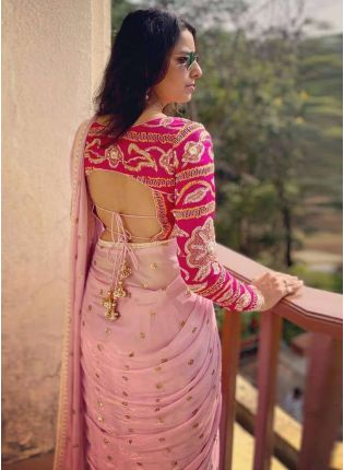 Baby Pink Sequin Georgette Embroidered Saree For Wedding