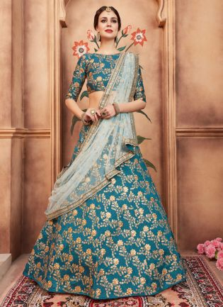 Marvelous Teal Green Color Designer Heavy Embroidred Lehenga Choli