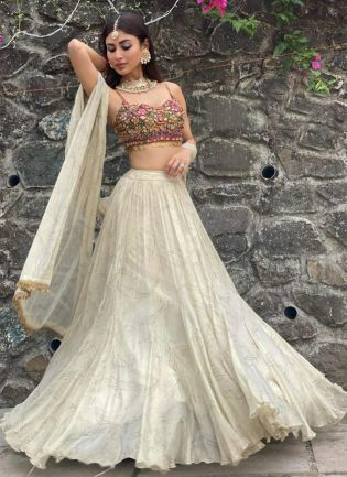 Breathtaking Off White Stone Mirror Work Silk Lehenga Choli Set