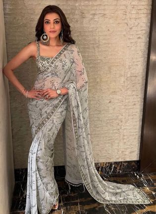 White Color Georgette Base Digital Print Bollywood Saree